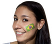 Smiling Woman with Brazilian Flag