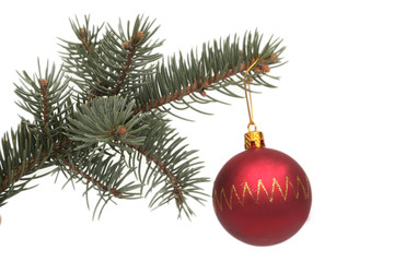 Red New Year's sphere and pine branch