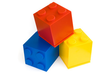 colorful cubes on white background