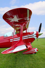 Red Biplane wing view