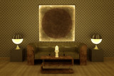 Visualization of a classic Art Deco revival style lounge.