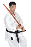 karate expert with wooden sword poster