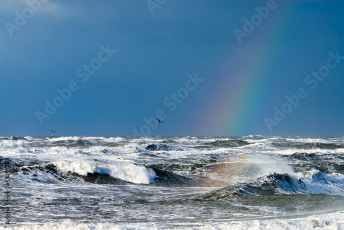 canvas print picture ocean and raindbow