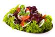 Fresh salad with onion, tomato and basil