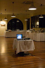 Projector and laptop have installed  in the restaurant