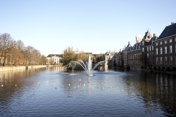 Parliament buildings with the courtpond in the Hague in Holland