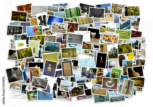 canvas print picture Stack of photos - background