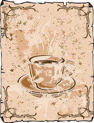 Coffee cup background, old grungy version