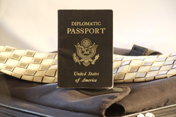 Diplomatic Passport standing on briefcase