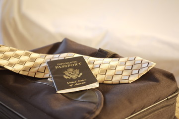 Diplomatic Passport on briefcase with tie