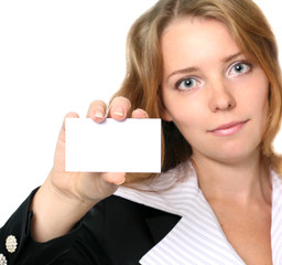 young businesswoman holding blank card
