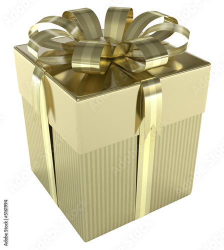 Gold Gift Box. Concept of christmas, wedding and birthday