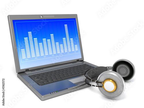 Laptop playing a music