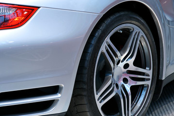 rear end of a german sportscars tire