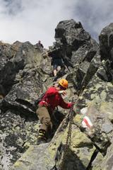 Chain on a rock, Eagle's path (Orla Perc), Tatra mountains