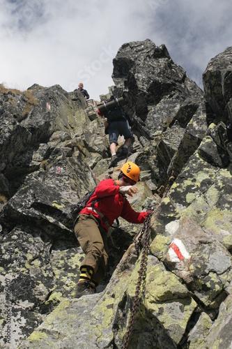 Chain on a rock, Eagle's path (Orla Perc), Tatra mountains - 5165307