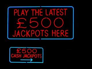 jackpots neon sign