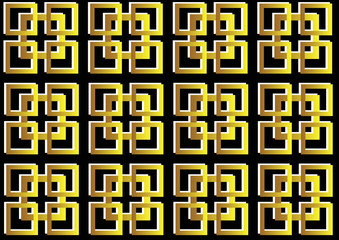 gold and white geometric square pattern on black background