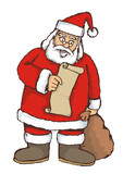 Sketch of Santa reading a list poster