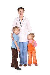 hospital nurse with two children