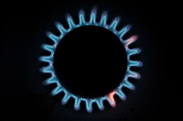 Gas flame on the kitchen gas-stove