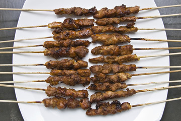 chicken satay skewer top angle