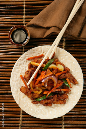 Strips of chicken breast and vegetables