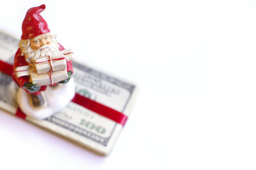Santa and the stack of money