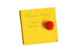 Things to buy post-it isolated on white poster