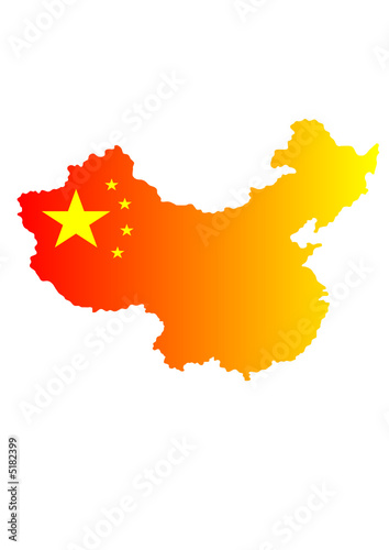 China Landkarte in Nationalfarben