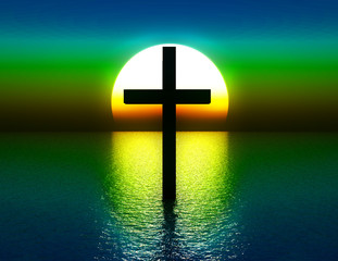 The Cross In Water At Sunrise 4