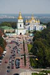 Orthodox church and square. View from above.