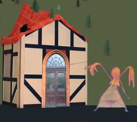 Hexentanz vor einer Märchenhaus – Kulisse