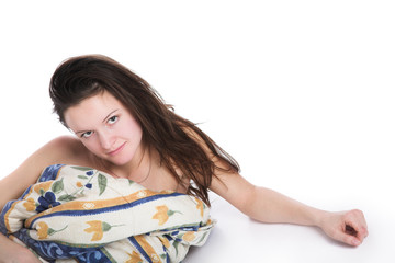 The girl under a blanket
