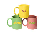 Three colorful mugs - Mom, Dad, Me (family) poster