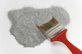 red brush on silver poster