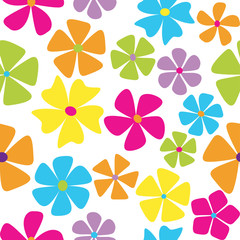Seamless retro flowers in multiple color schemes
