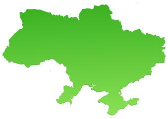 Carte de l'Ukraine verte