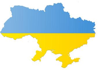 Carte de l'Ukraine (Drapeau)
