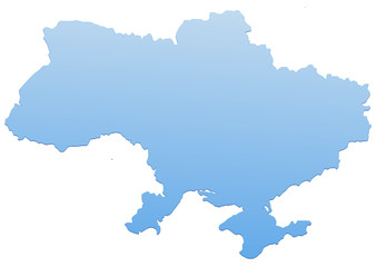 Carte de l'Ukraine bleu