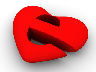 Symbol of internet as heart. 3d