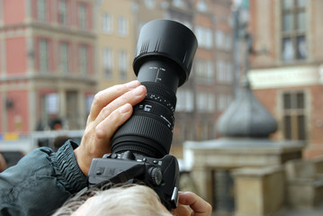 man doing photo