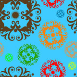 Vivid, colorful, repeating floral background poster
