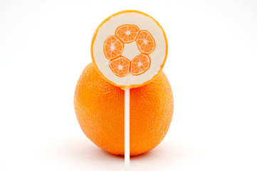 Orange and orange lollipop