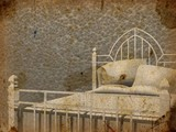 Vintage bed in grunge background poster