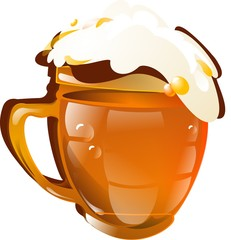 a mug of beer isolated on white