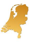 Carte des Pays-Bas marron poster