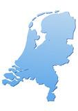 Carte des Pays-Bas bleu poster