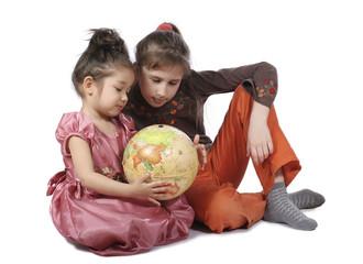Girls with globe