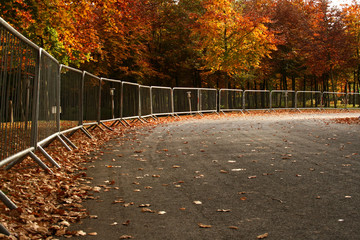 fenced off parkland in autumn/fall